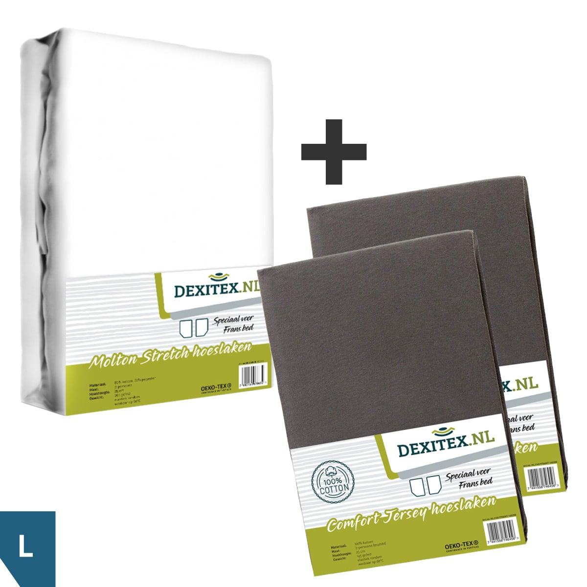 Textielpakket voor een Fransbed, Links - 1x molton wit + 2x jersey hoeslaken antraciet