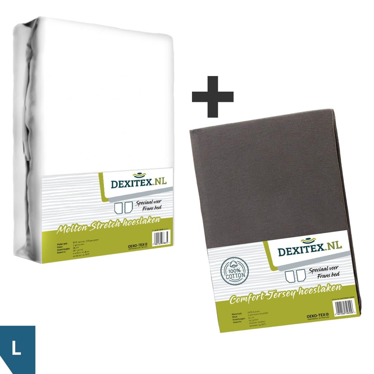 Textielpakket voor een Fransbed, Links - 1x molton wit + 1x jersey hoeslaken antraciet