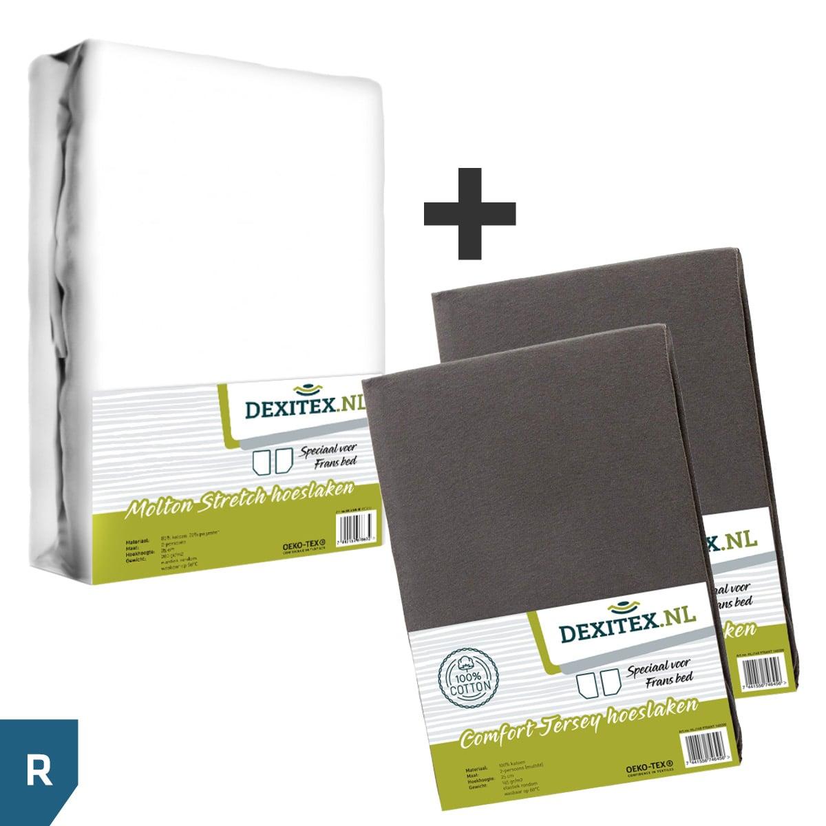 Textielpakket voor een Fransbed - 1x Molton wit + 2x jersey hoeslaken antraciet