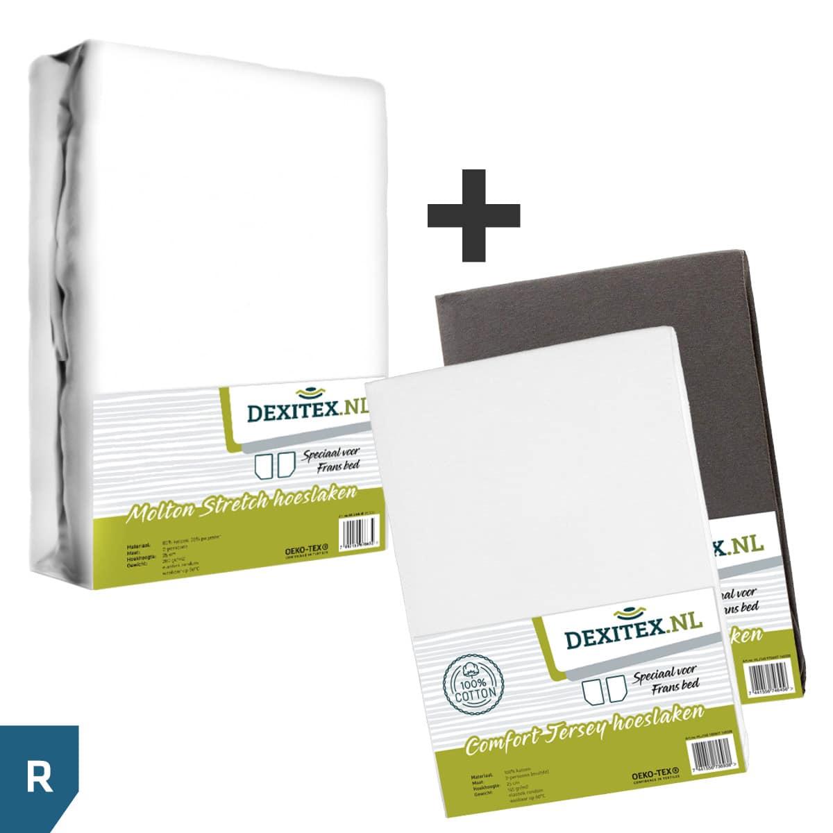Textielpakket voor een Fransbed - 1x Molton wit + 1x jersey hoeslaken antraciet en 1x jersey hoeslaken wit