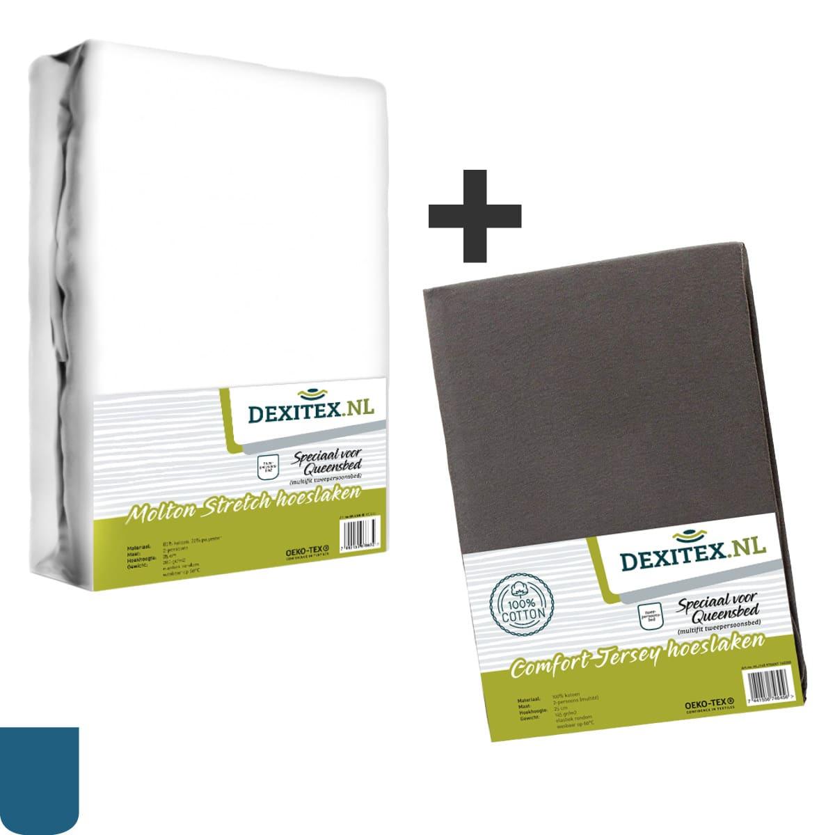 Textielpakket voor een Queensbed - 1x Molton wit + 1 jersey hoeslaken antraciet