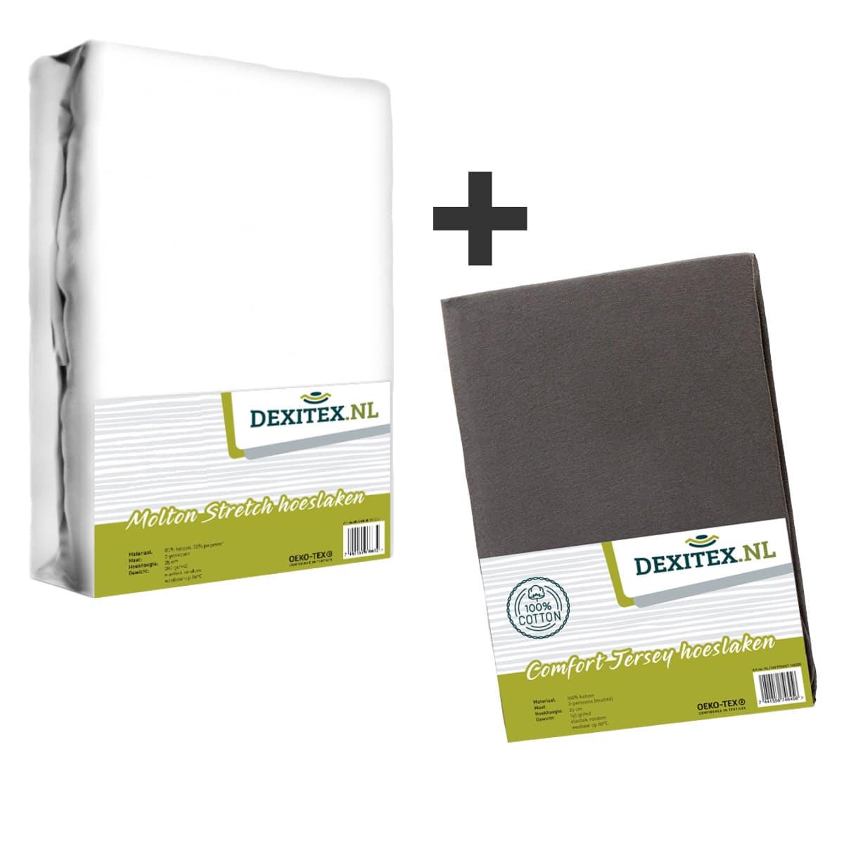 Textielpakket - 1x Molton wit + 1x Jersey hoeslaken antraciet