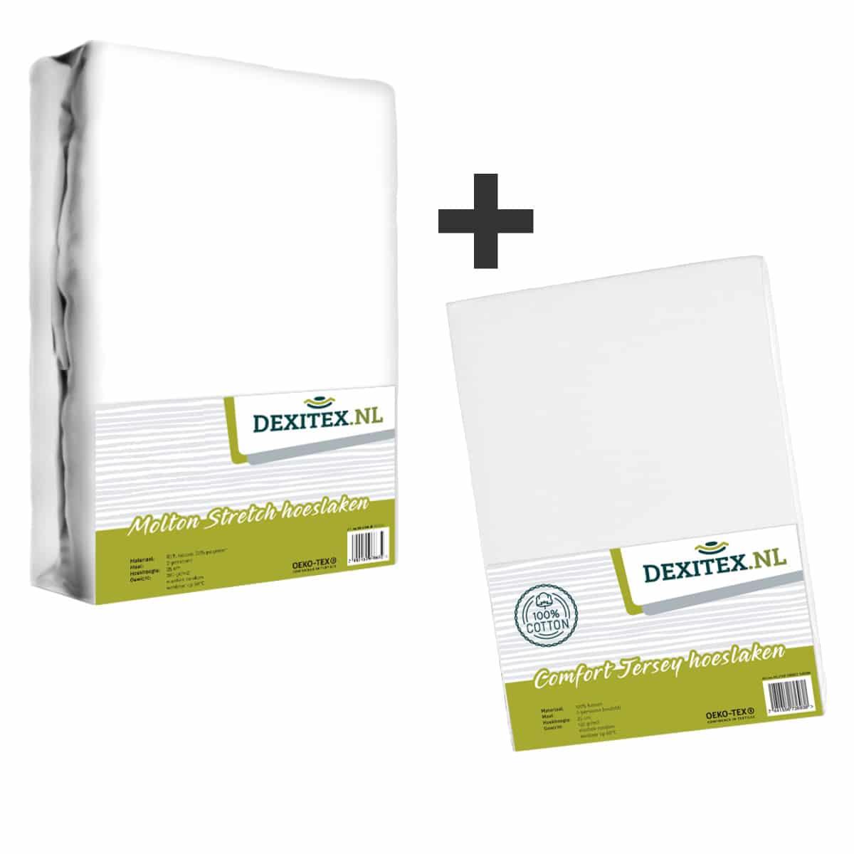 Textiel pakket - 1x Molton wit + 1x jersey hoeslaken wit