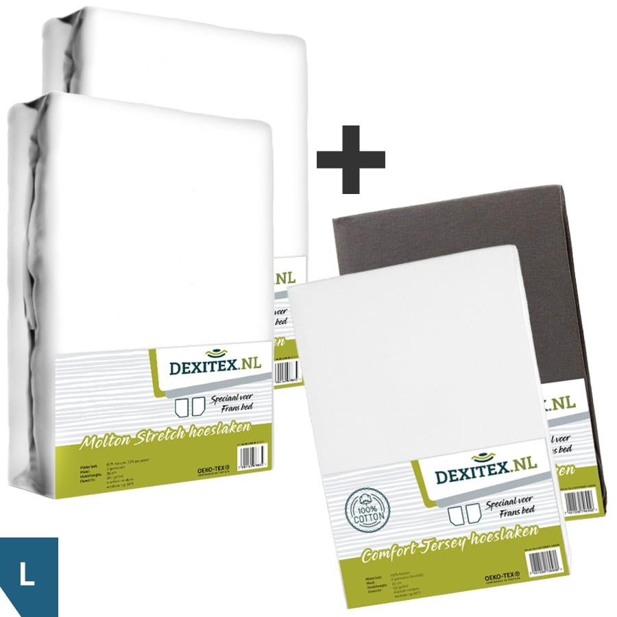 Textielpakket voor een Fransbed - 2x molton wit + 1x jersey hoeslaken wit, 1x jersey hoeslaken antraciet, Links