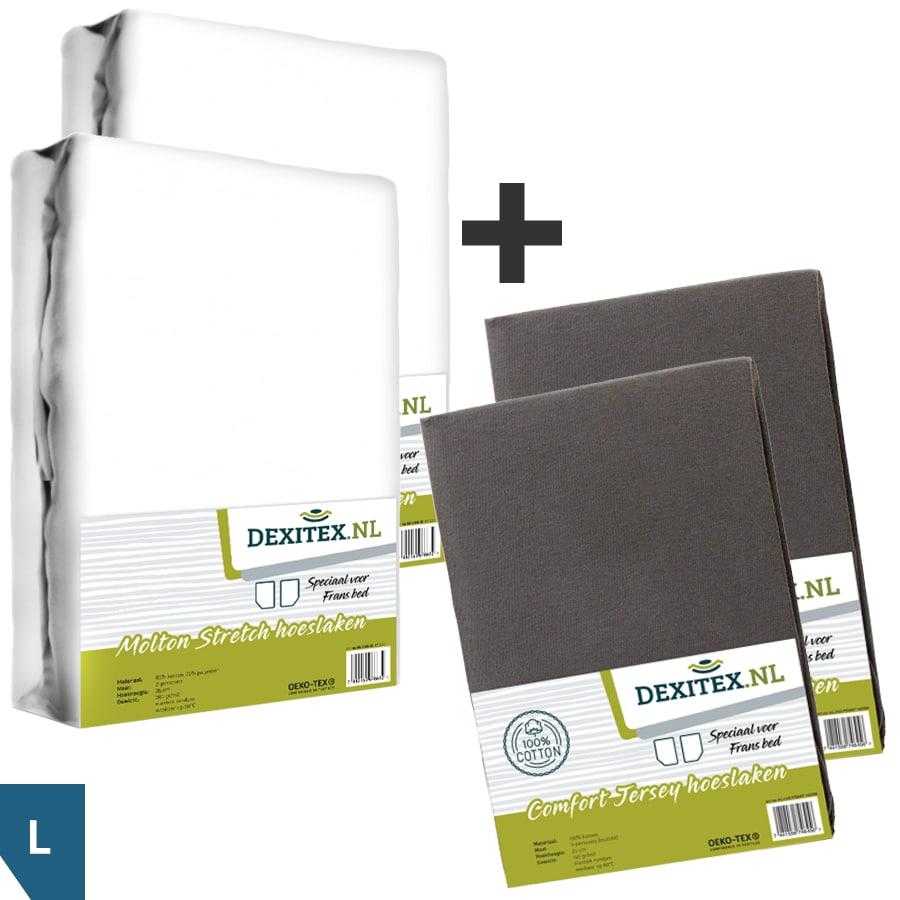 Textielpakket voor een Fransbed - 2x molton wit + 2x jersey hoeslaken antraciet, Links