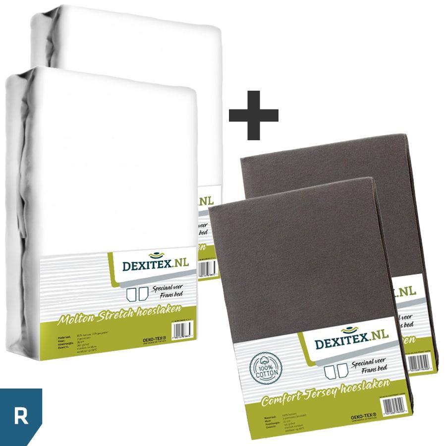 Textielpakket voor een Fransbed - 2x molton wit + 2x jersey hoeslaken antraciet, Rechts
